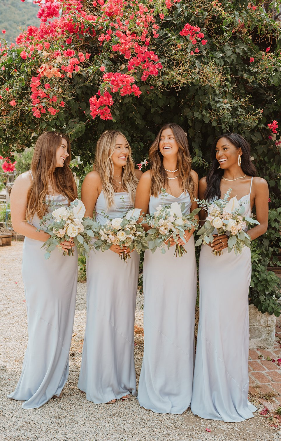 Long affordable light grey bridesmaid dresses