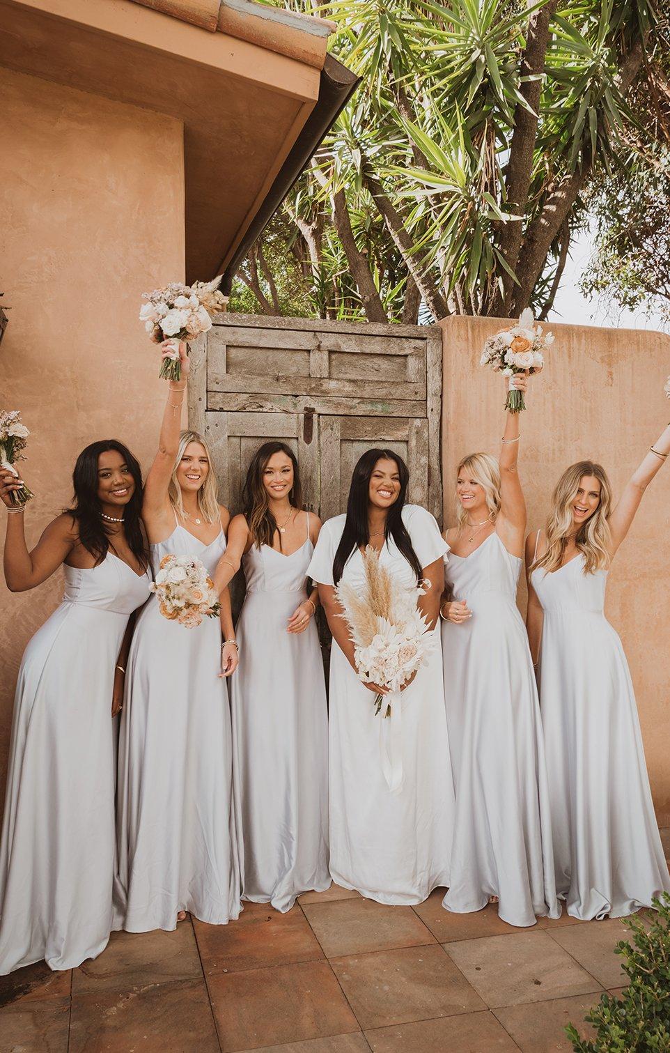 Affordable light grey bridesmaid dresses