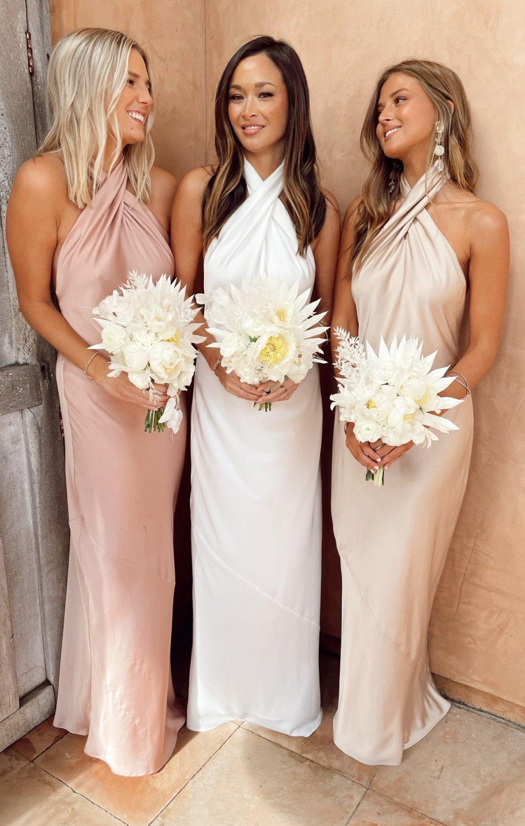 Blush pink halter neck bridesmaid dresses