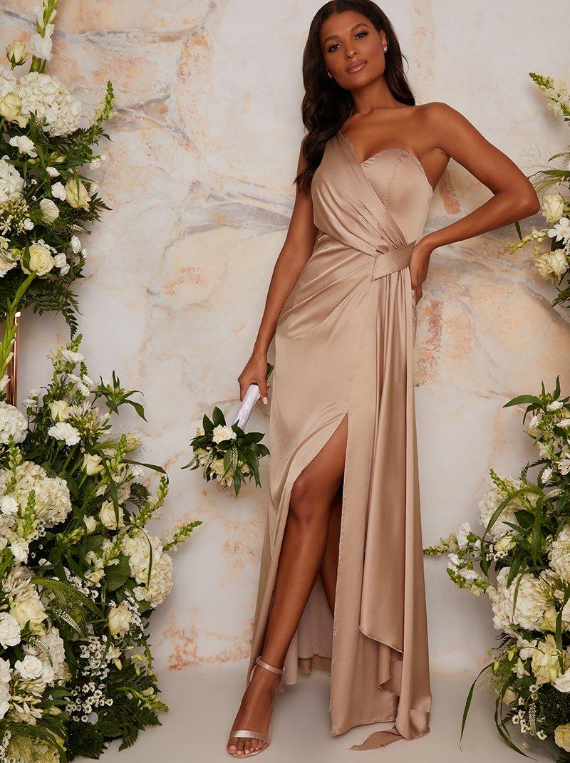 Affordable nude bridesmaid dress