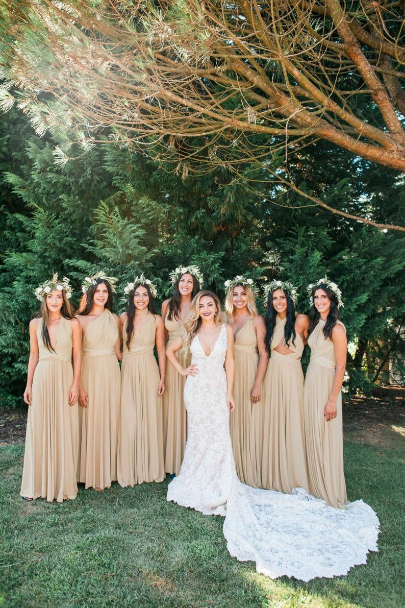 Affordable gold bridesmaid dresses