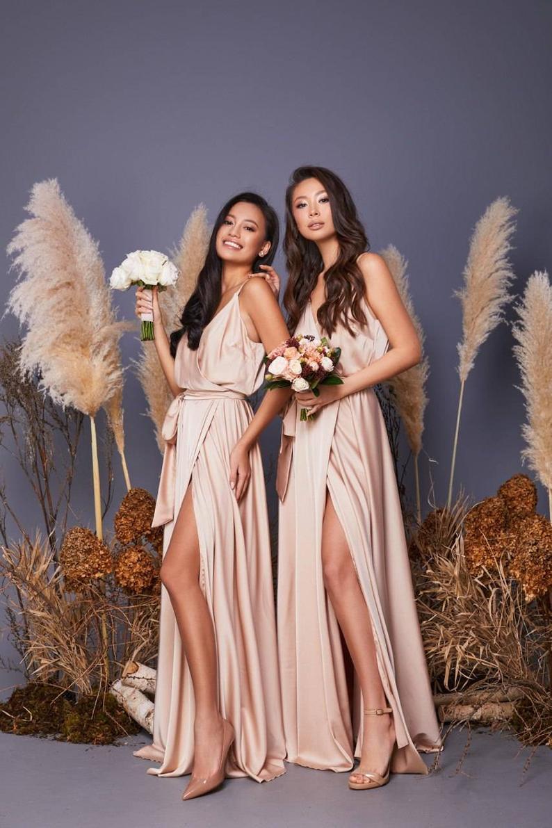 Lond blush pink bridesmaid dresses with slit