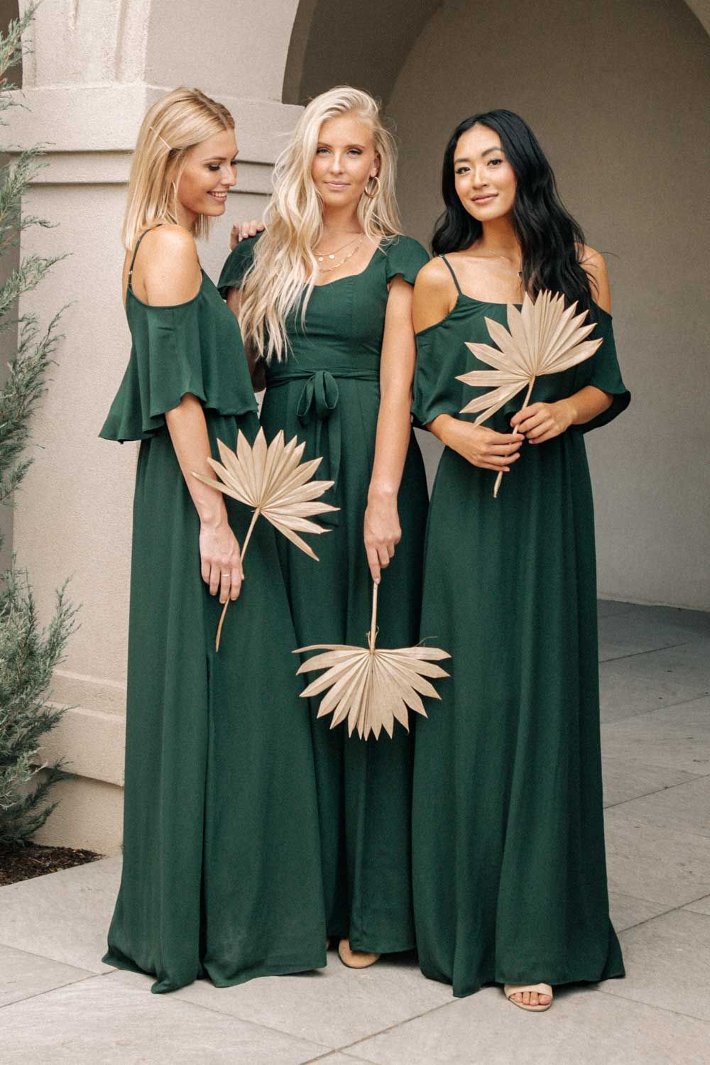 Affordable dark and emerald green bridesmaid dresses with short sleeves