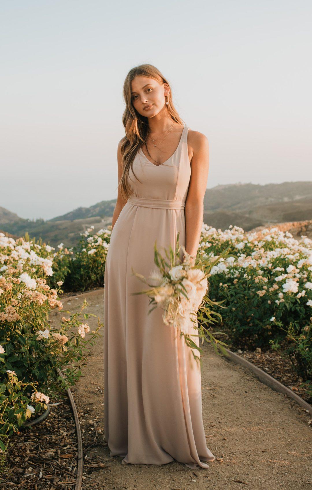Beautiful long blush pink bridesmaid dress