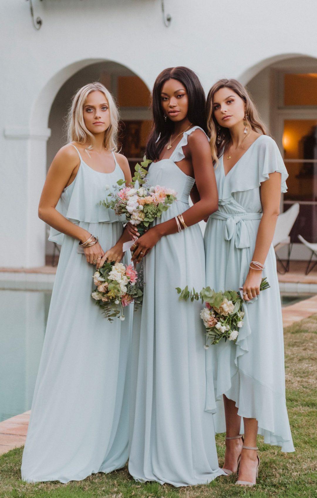 Affordable light blue mismatched bridesmaid dresses
