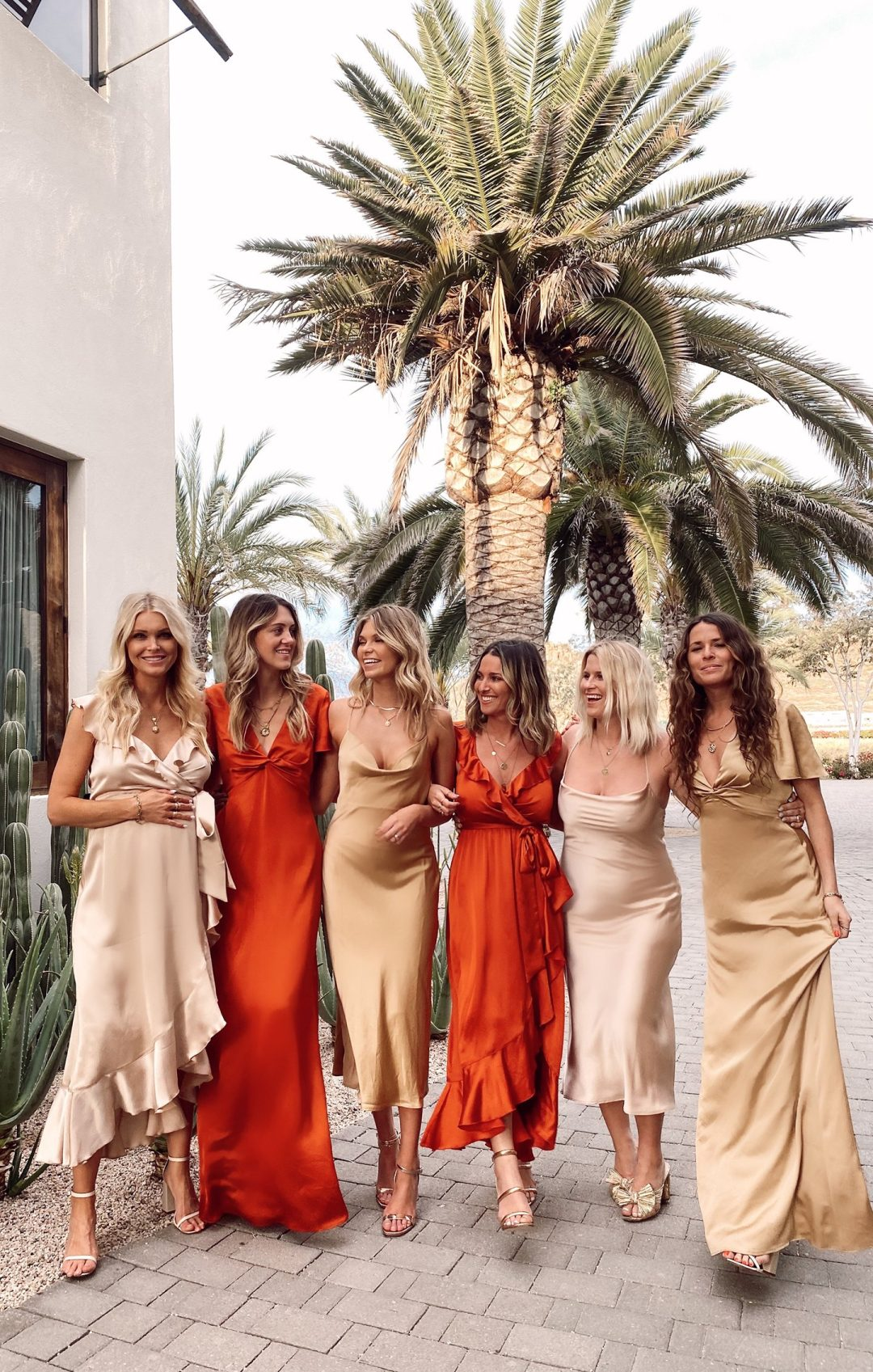 Affordable mismatched red and gold bridesmaid dresses