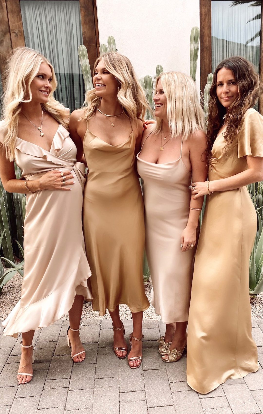 Affordable mismatched blush pink and gold bridesmaid dresses