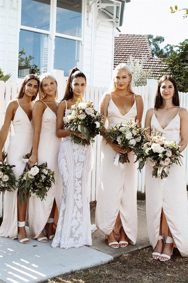 Simple pale and light pink bridesmaid dresses