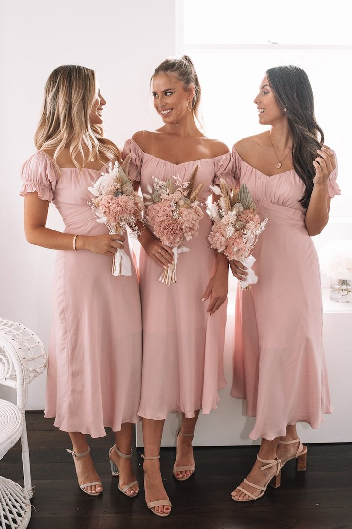 Light pink bridesmaid dresses with short sleeves
