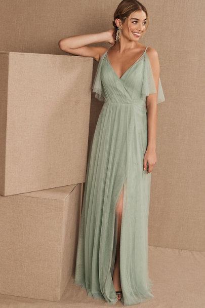 Affordable long sage green bridesmaid dress