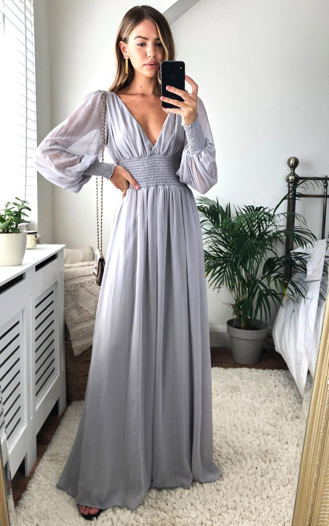 Affordable long grey bridesmaid dresses with long sleeves