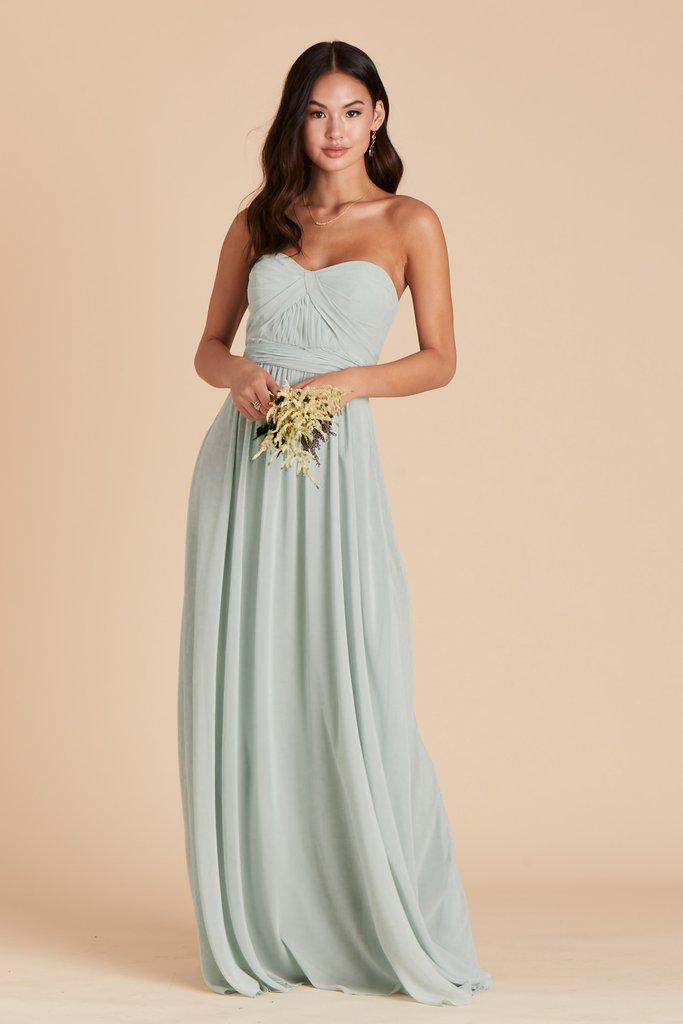 Affordable sage green long bridesmaid dress