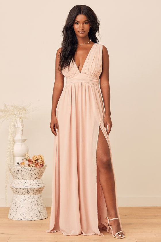 Affordable blush pink bridesmaid dresses with a slit
