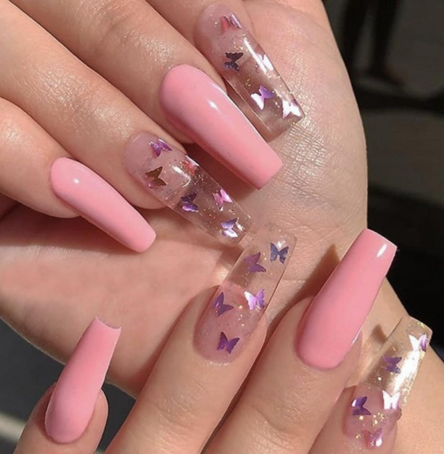 Transparent and pink butterfly coffin nails