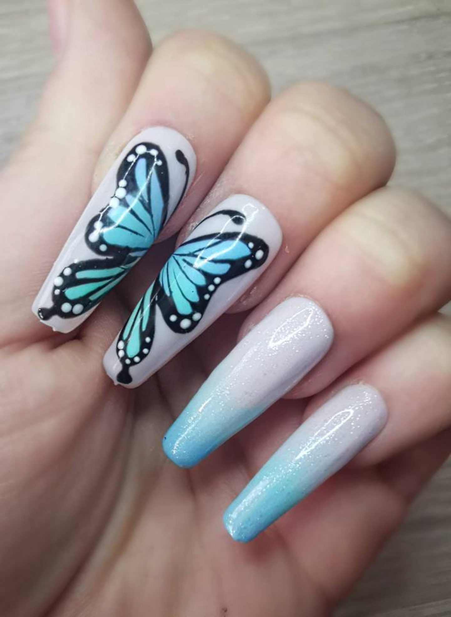 Blue ombre butterfly nails
