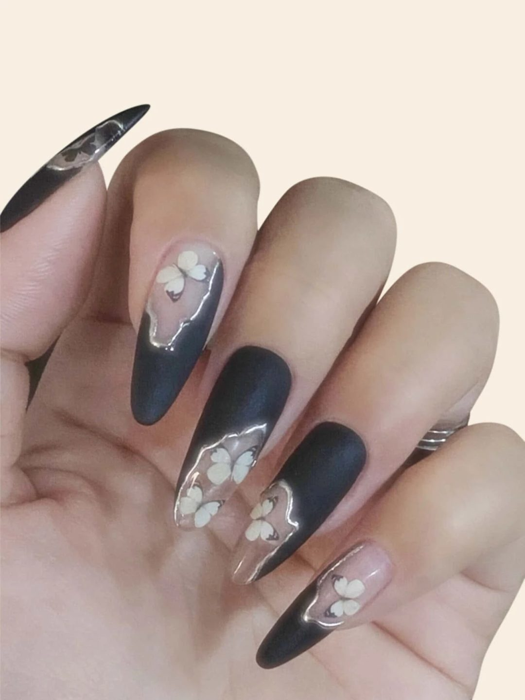 Black and white butterfly nails