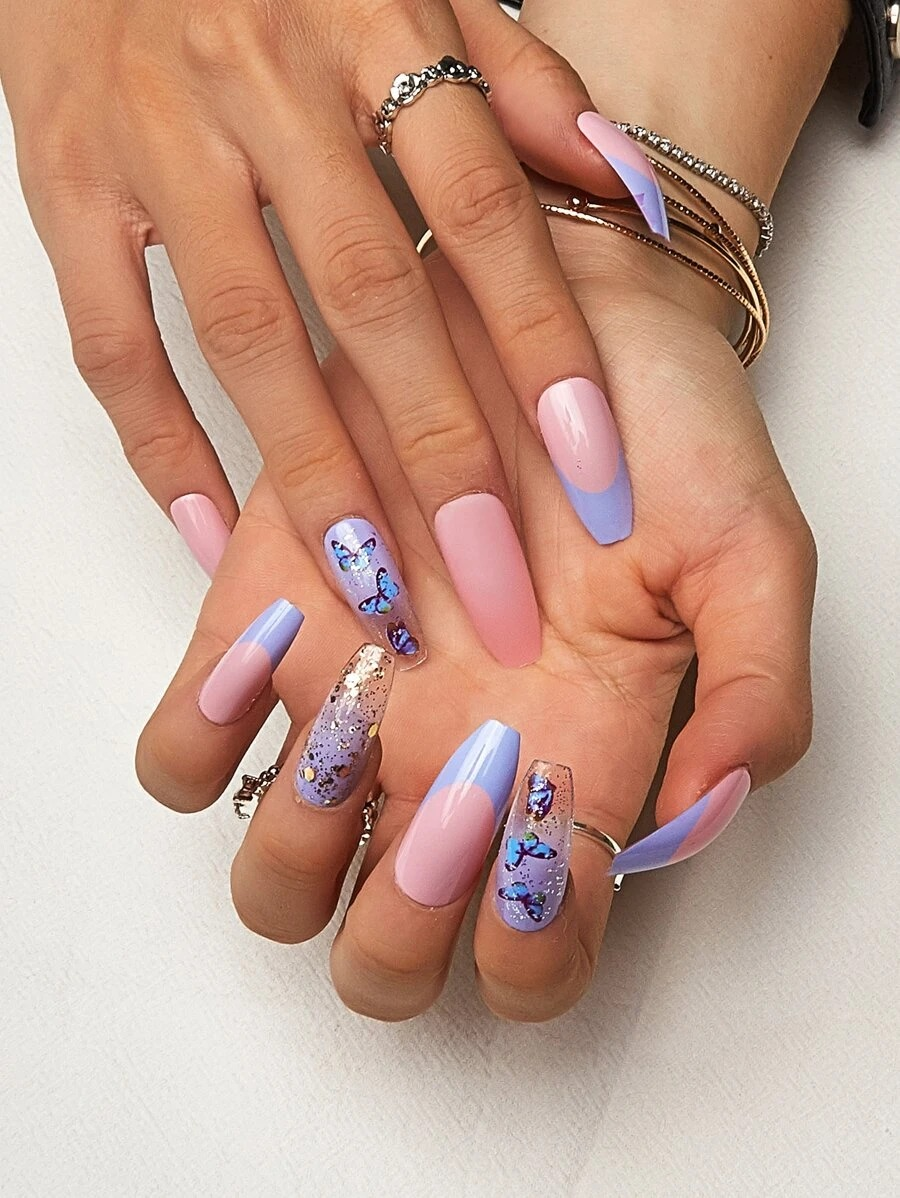 Blue butterfly nails with French tips