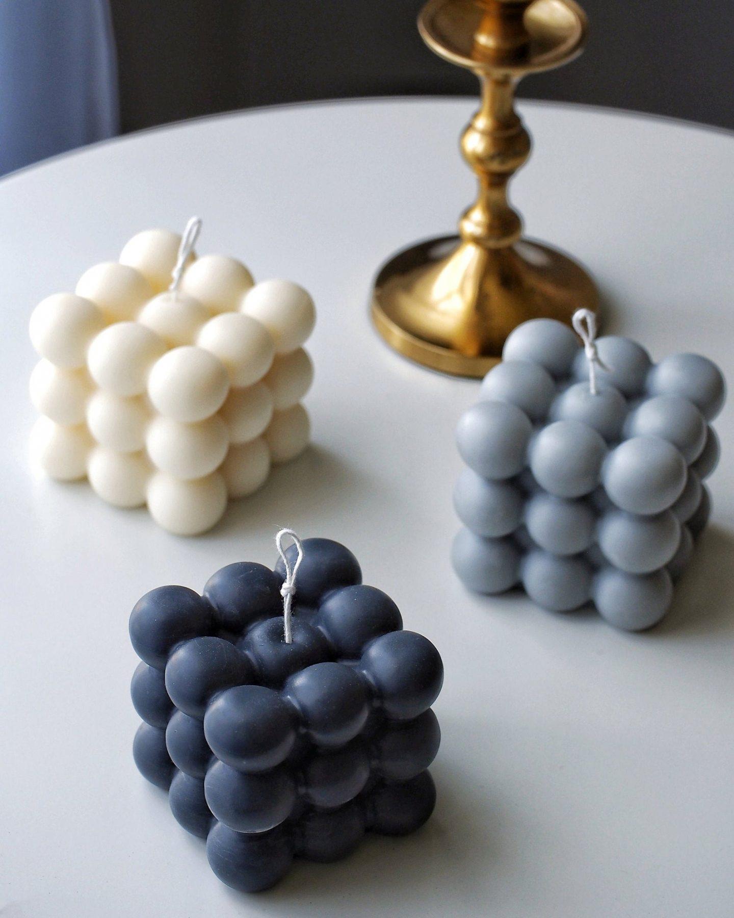 Handmade trendy cube candle
