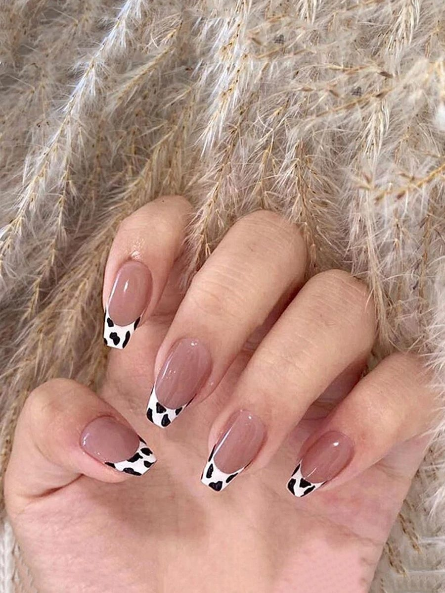 Cow print French tip nail designs