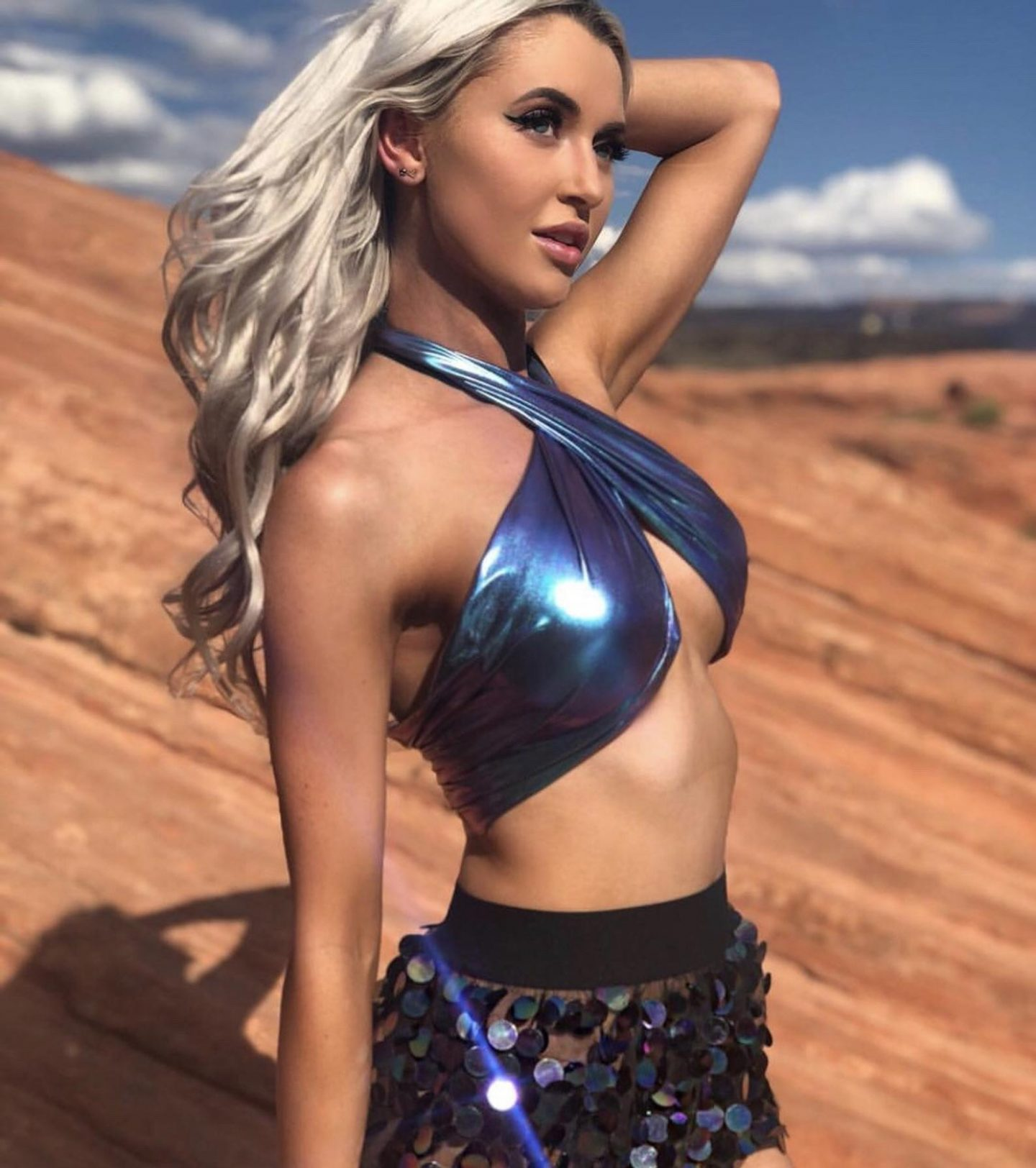 Holographic scarf top for burning man festival