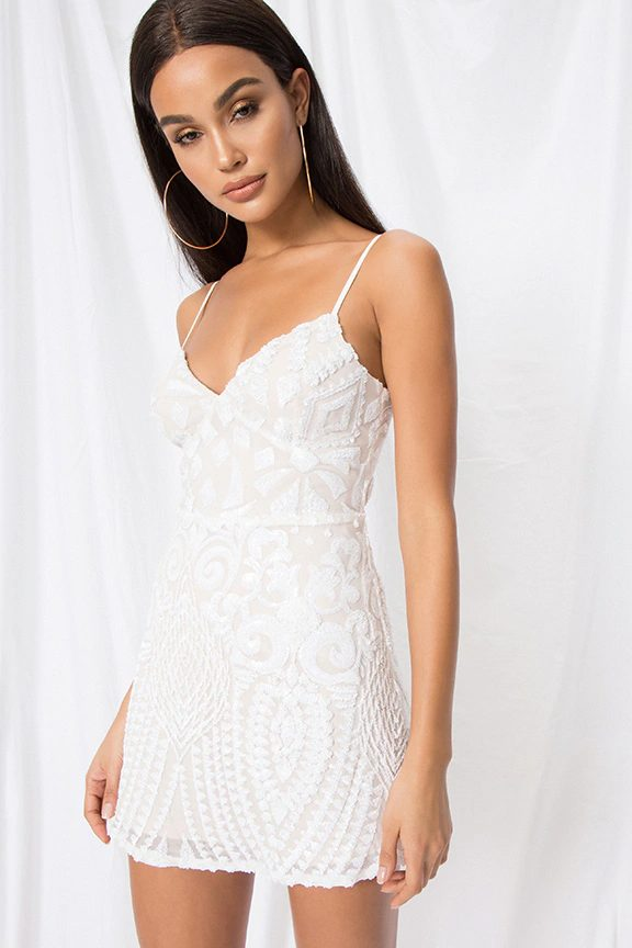 White mini dress with sequins