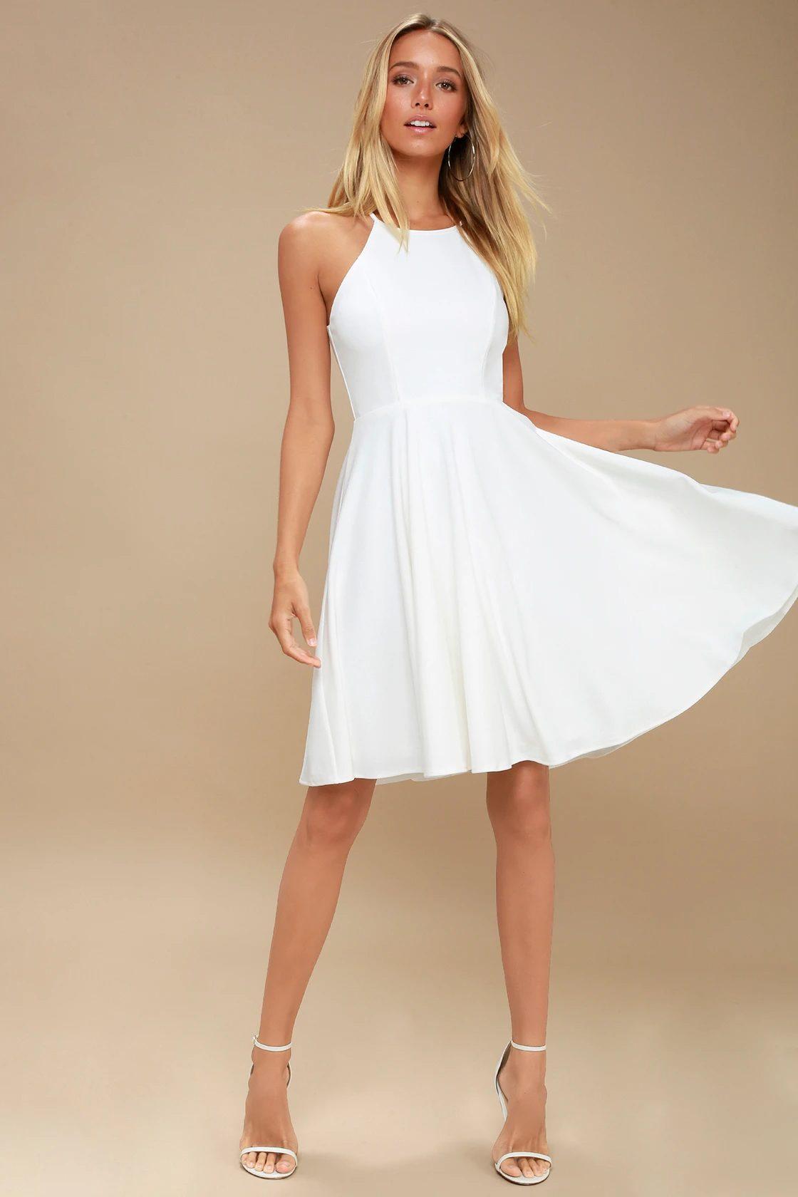 White A-line graduation dress
