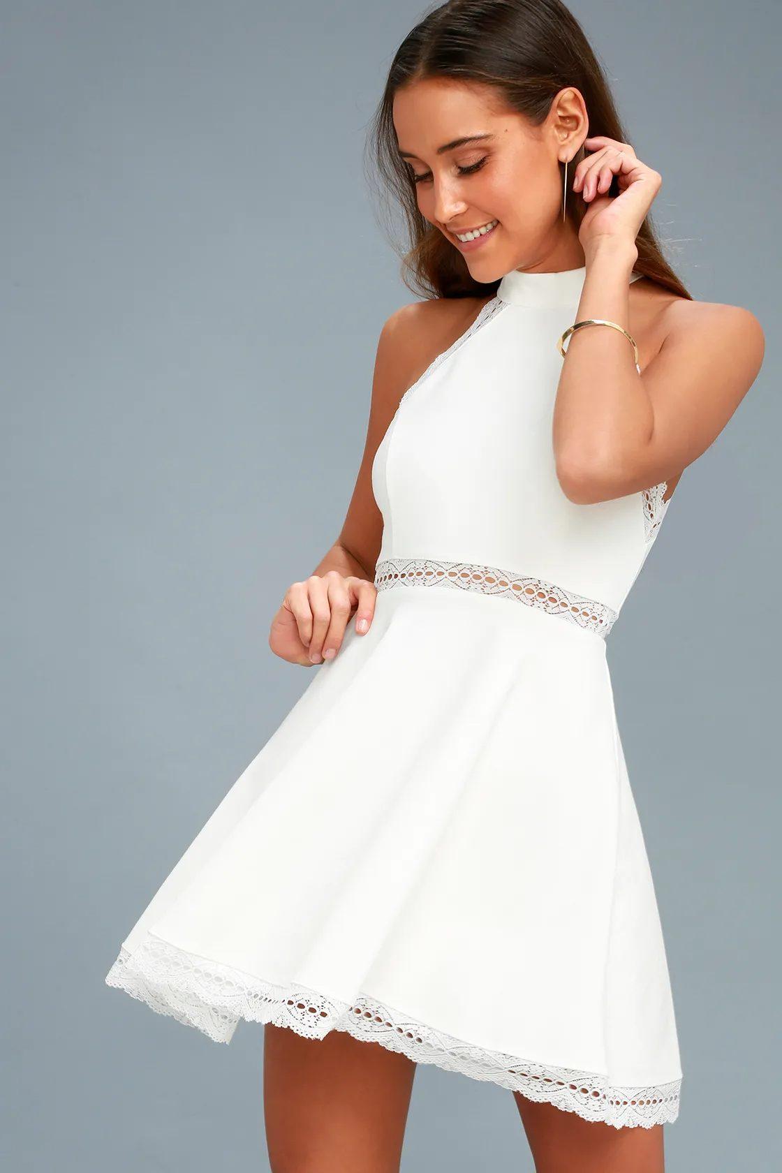 White A-line mini dress