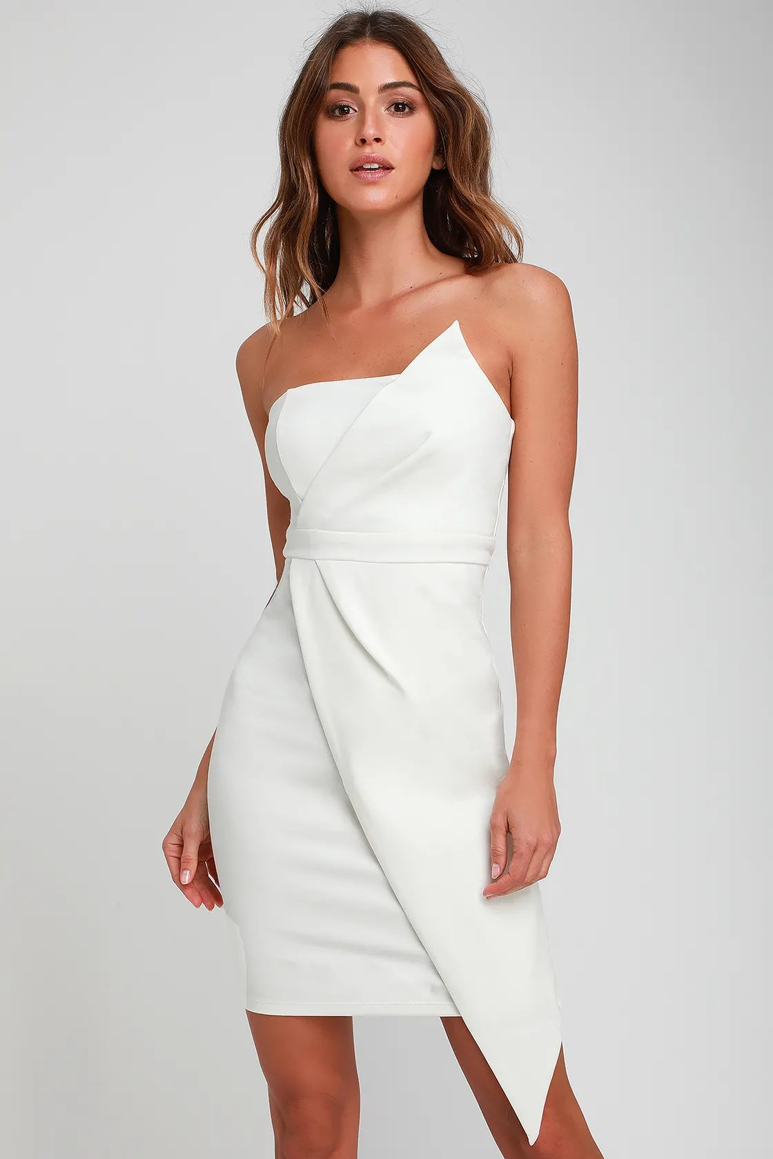 Elegant white graduation dress
