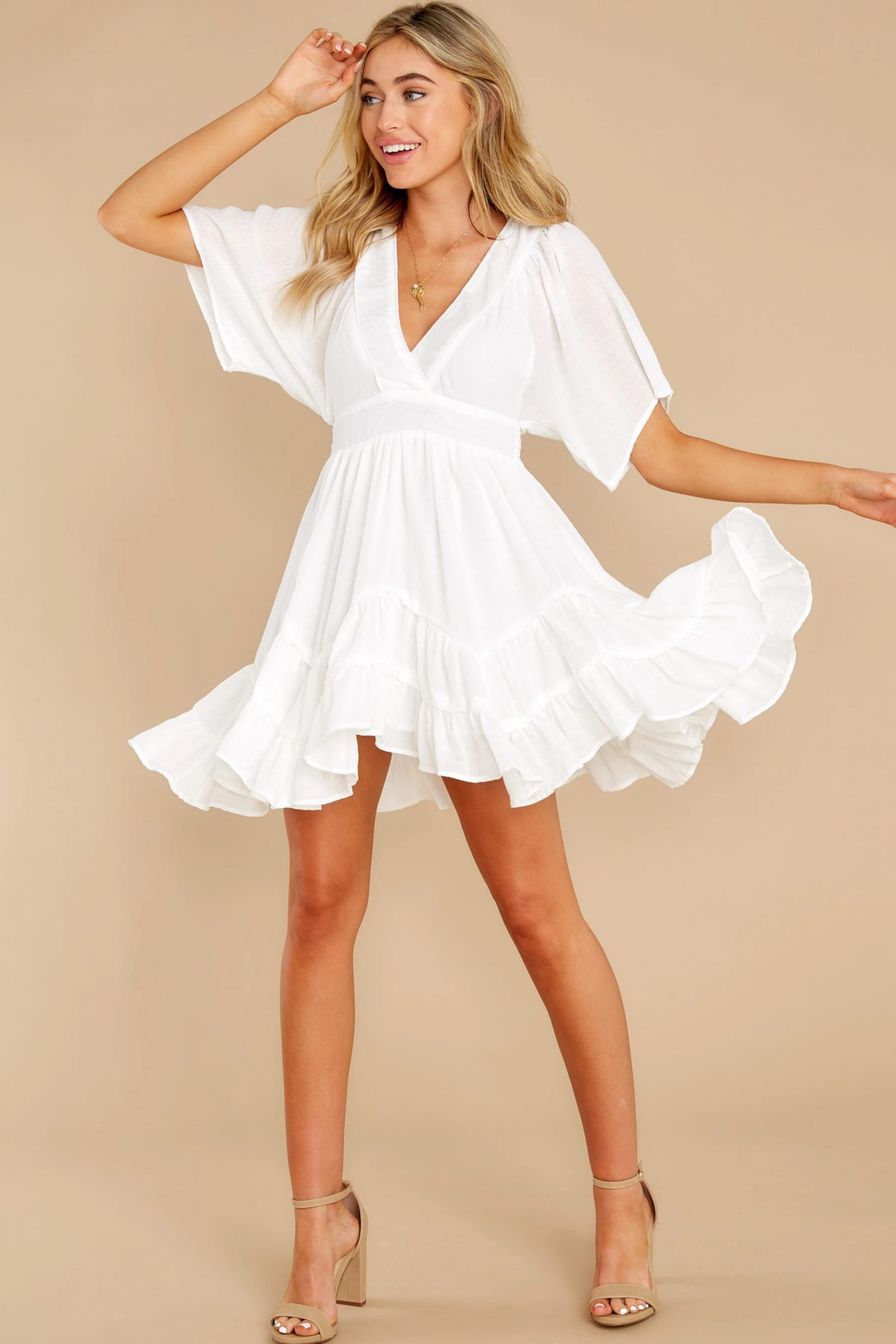Casual summer dress with ruffles and sleeves
