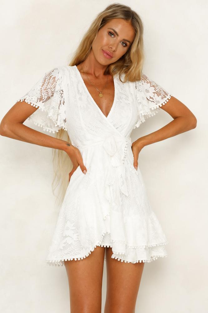 Casual white summer dress white t-shirt sleeves