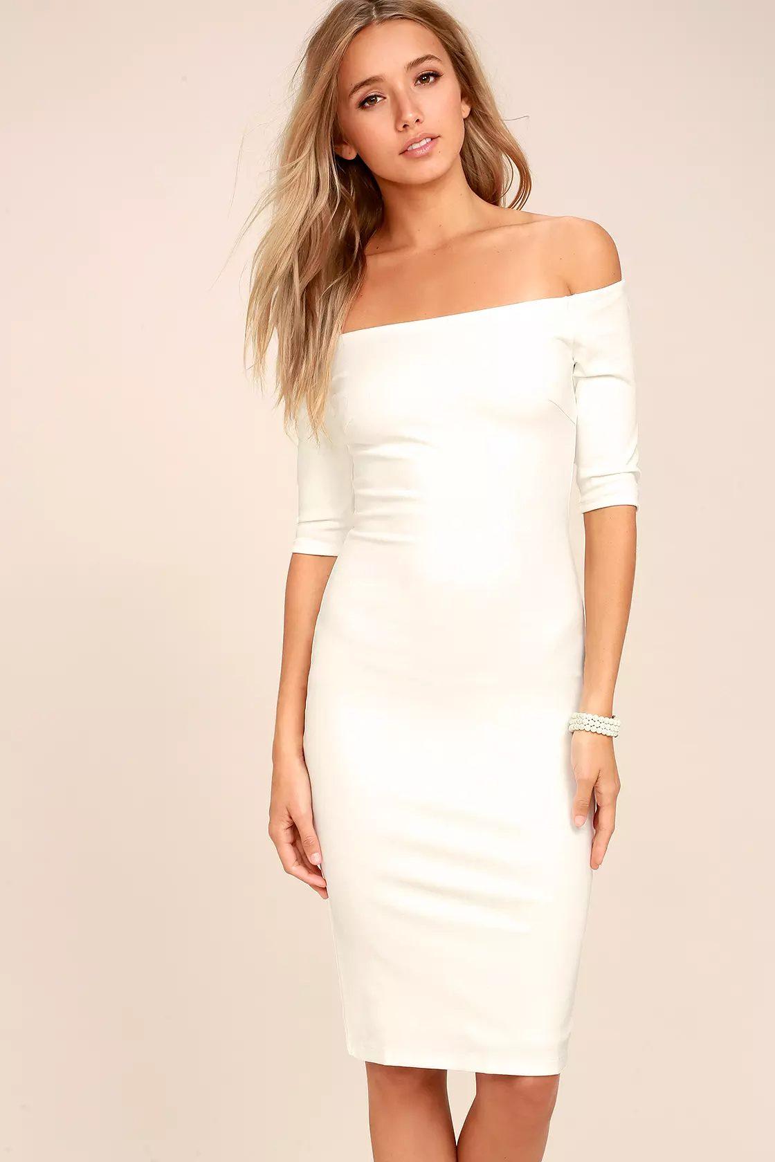 White bodycon dress for graduation