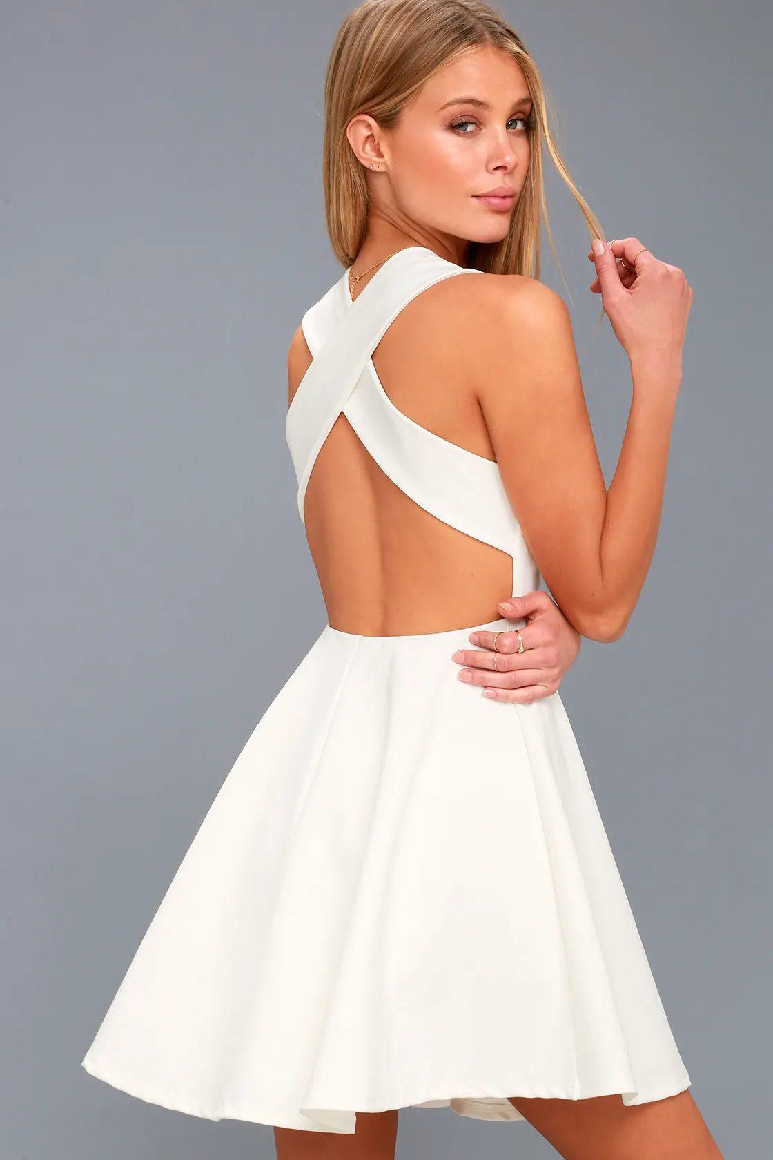 Backless white graduation dress in A-line shape