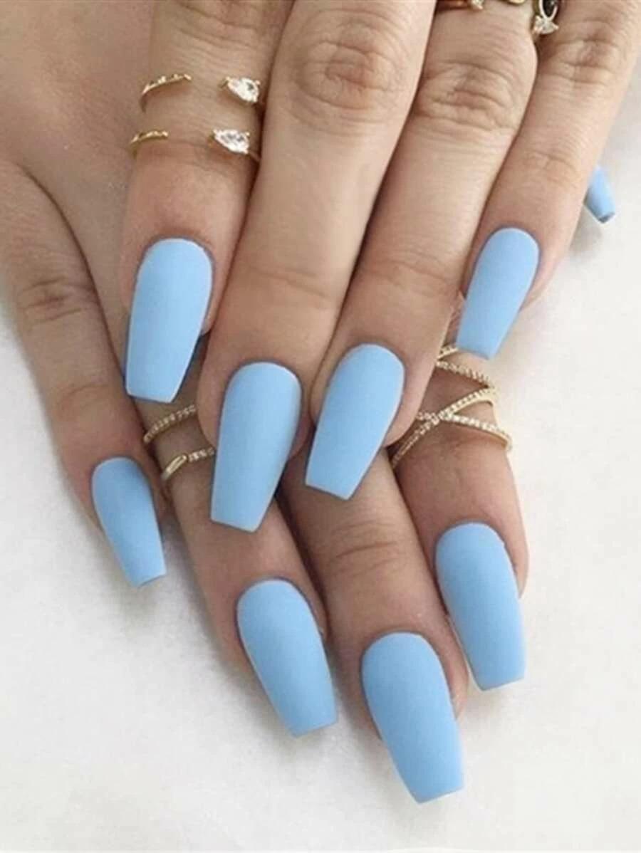 Pastel blue short coffin nails