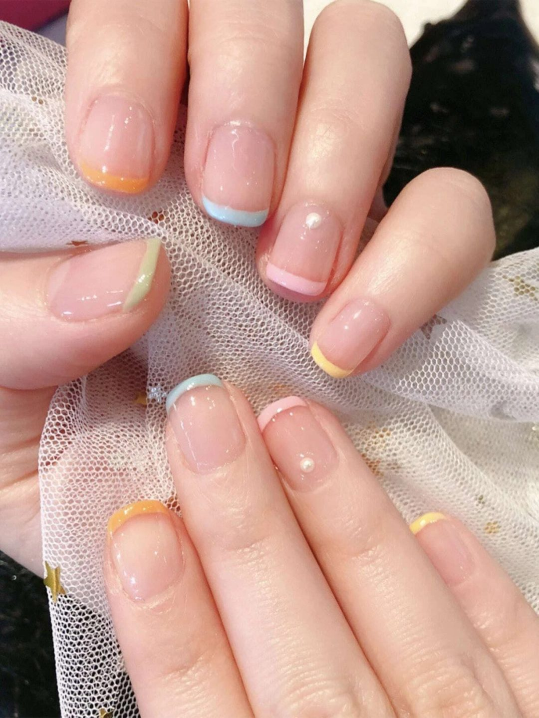 Colorful pastel French tip nails