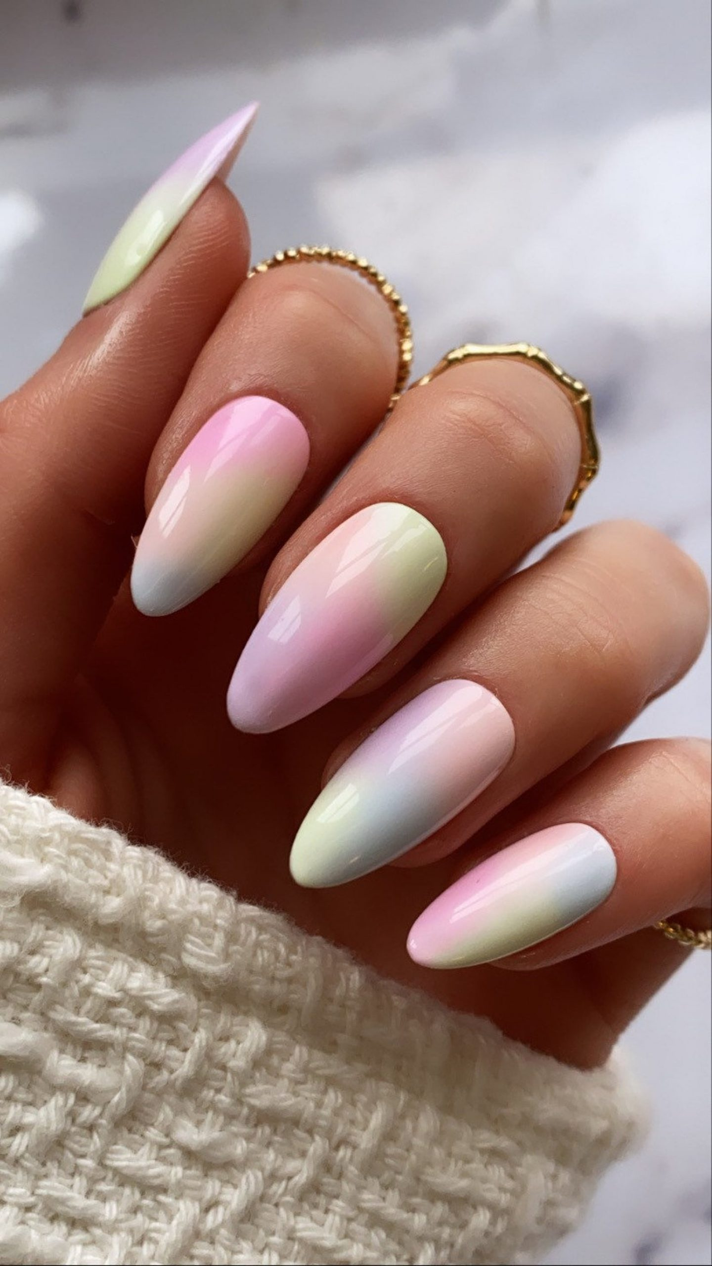 Pastel pink and tie dye nails