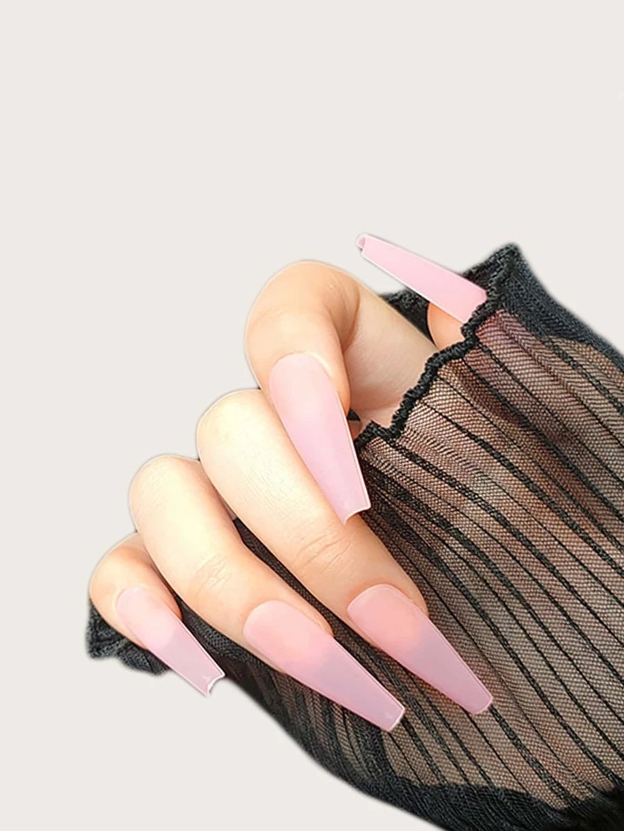 Pastel pink acrylic coffin nails