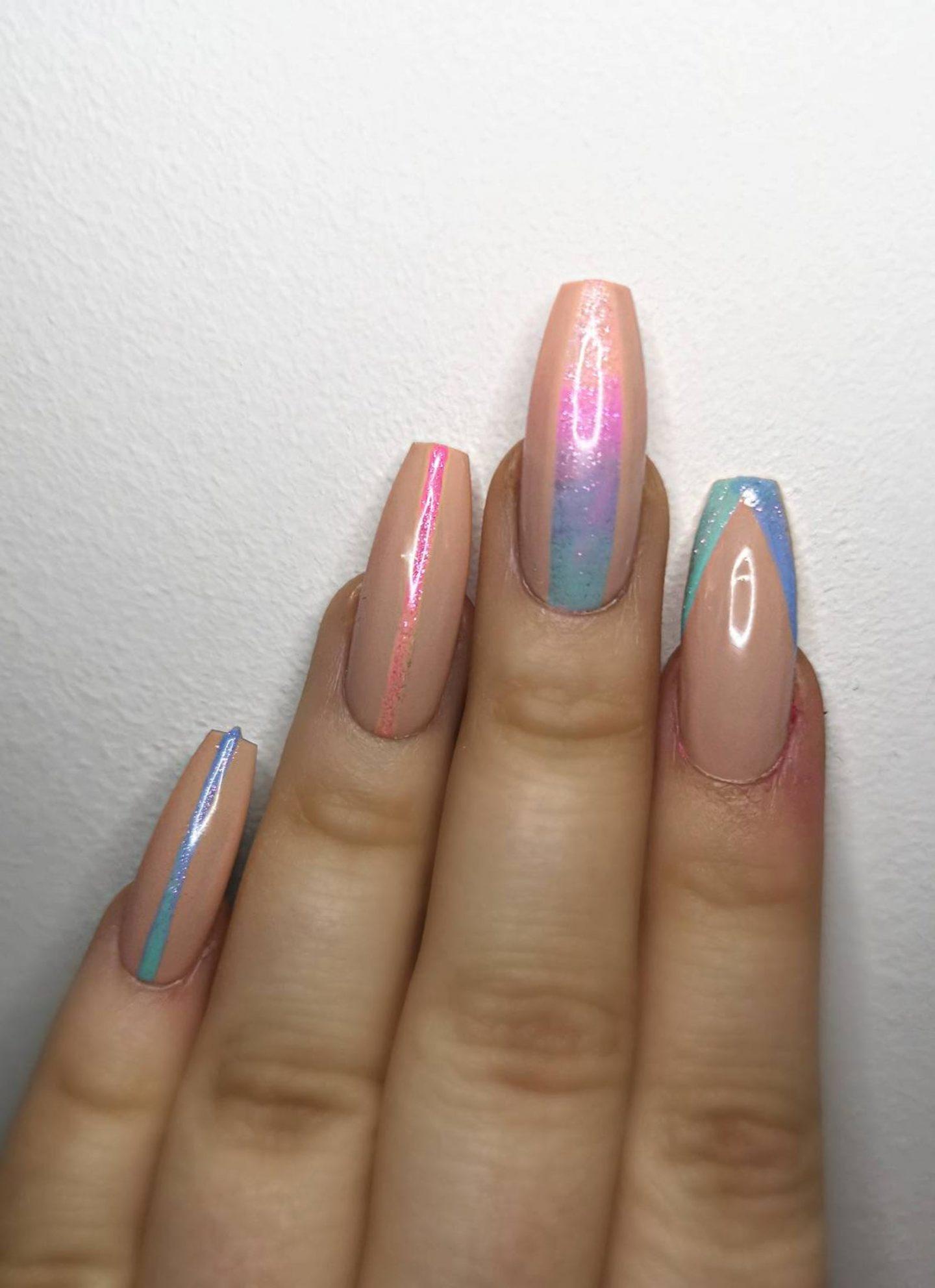 Rainbow nail art on coffin shape nails