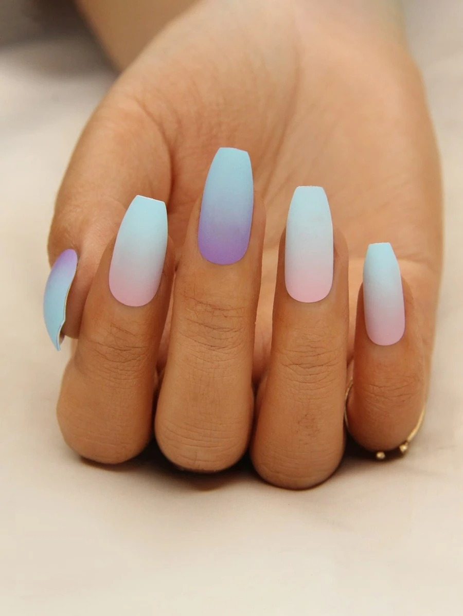 Purple, pink and blue ombre nails