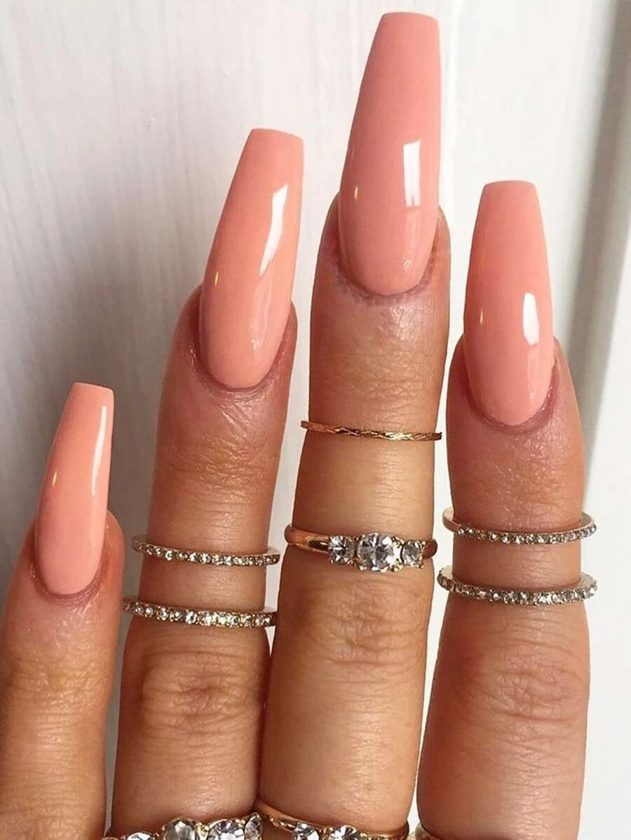 Peach acrylic coffin nails
