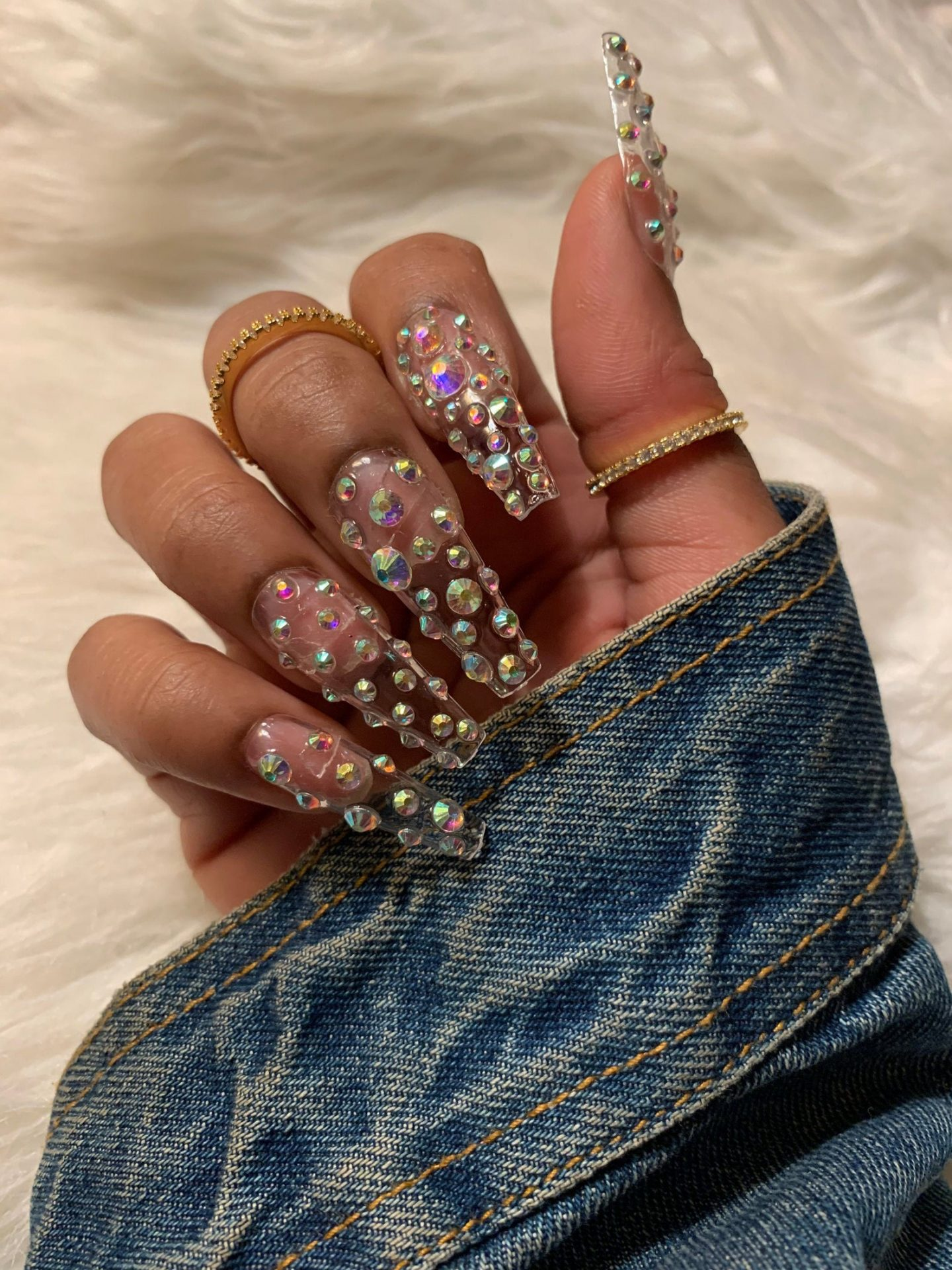 Transparent press on nails with rhinestones