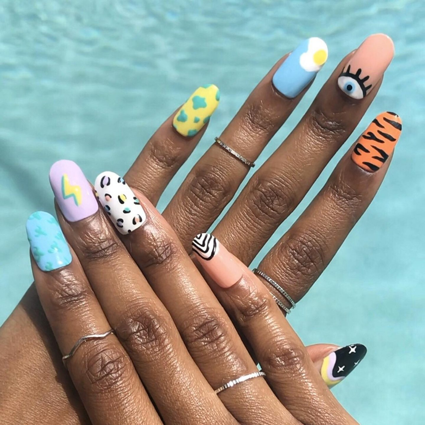 Mix and match abstract nail designs