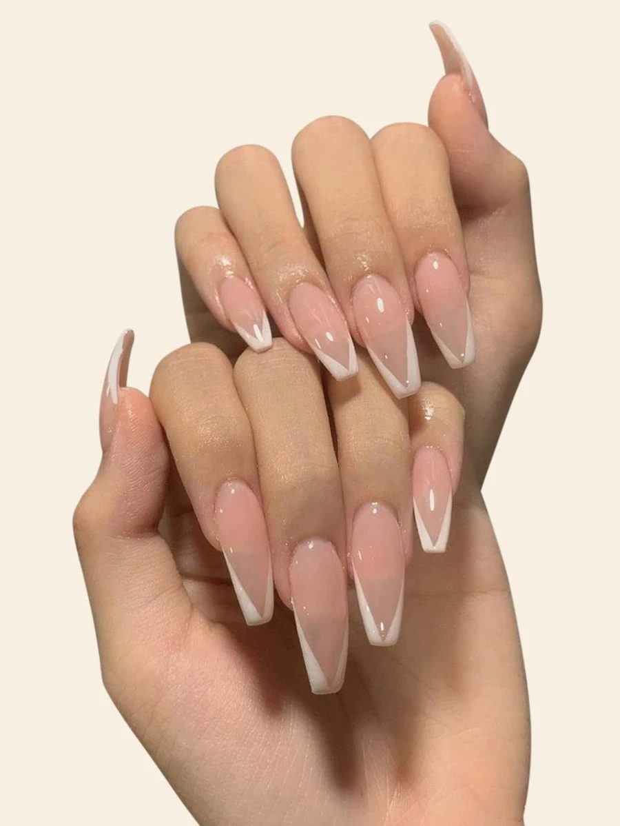 Nude modern French tip press on nails