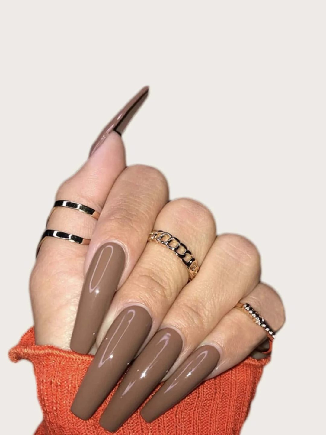 Taupe brown press on coffin nails