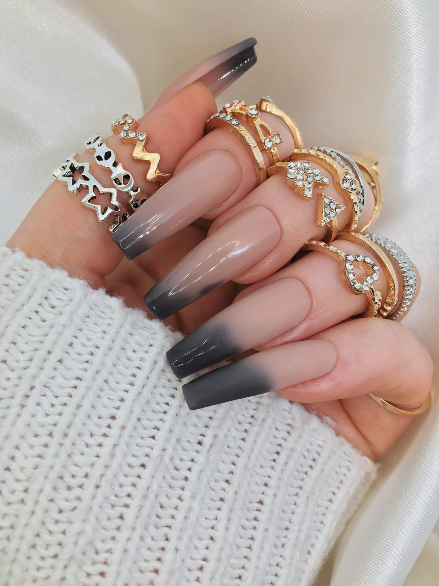 Long black ombre press on nails