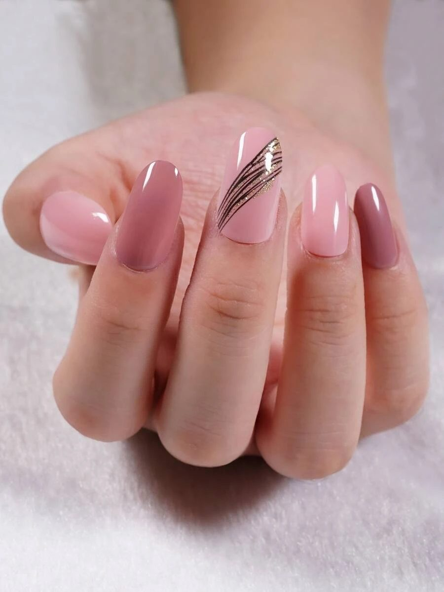 Pink and mauve almond nails