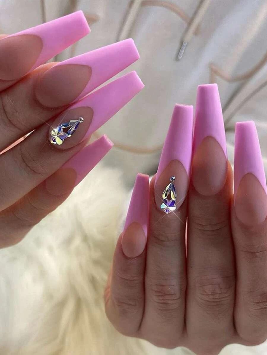 Cute light pink French tip coffin nails