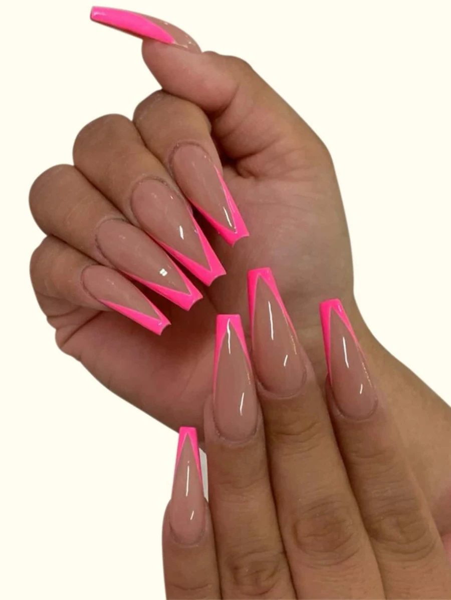 Neon pink French tip press on nails
