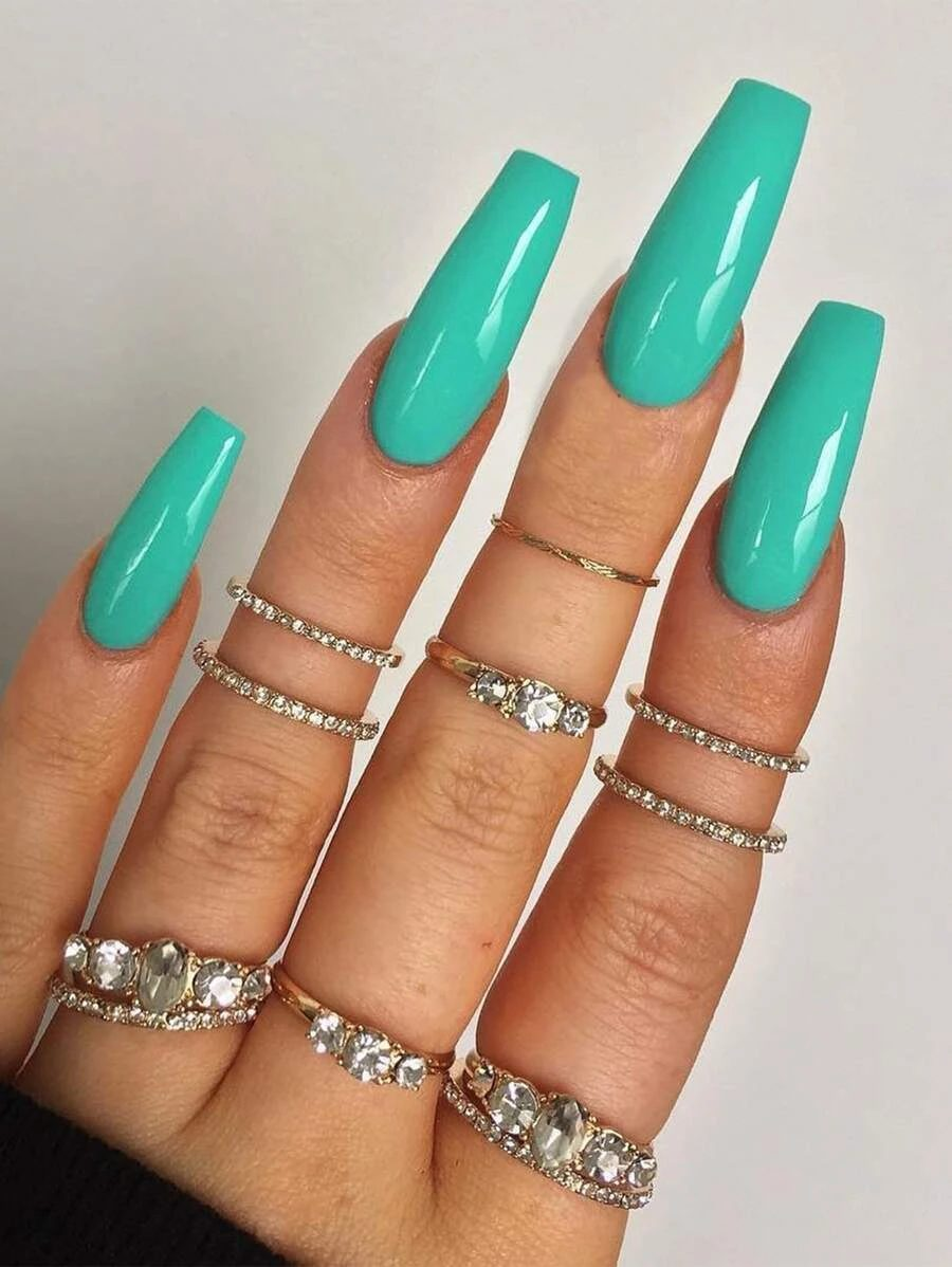 Long mint green coffin press on nails