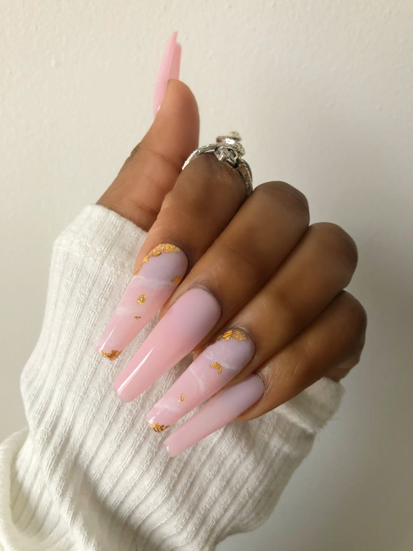 Long light pink press on nails with gold foil