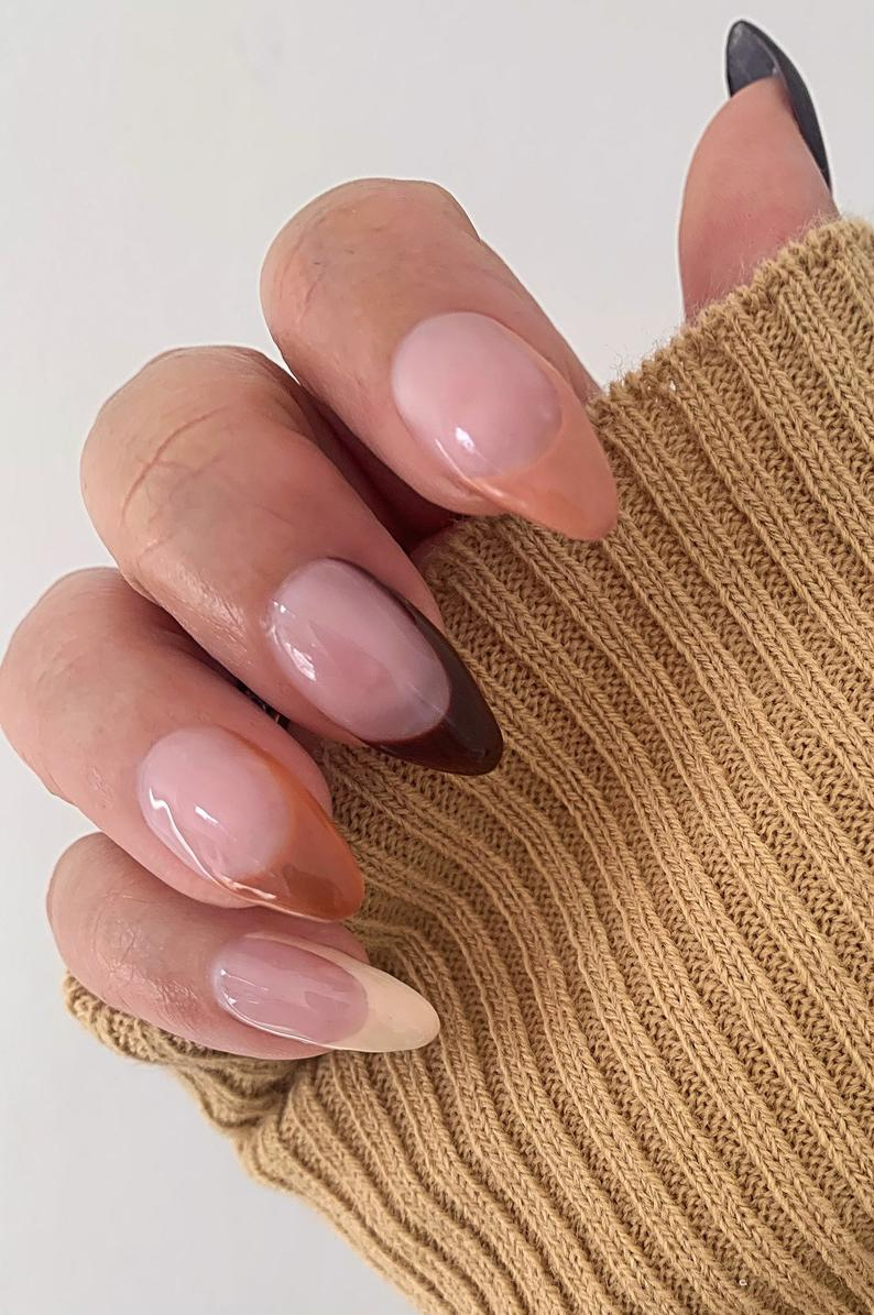 Brown French tip press on nails in almond shape